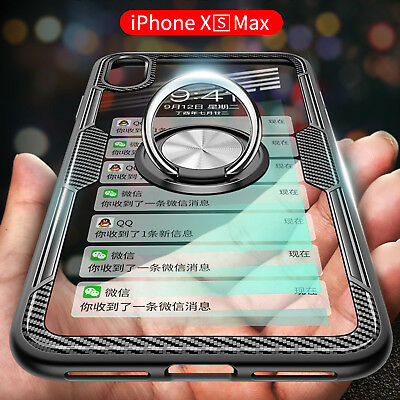 Magnetic Finger Ring Shockproof TPU Case Cover For iPhone XS Max XR X