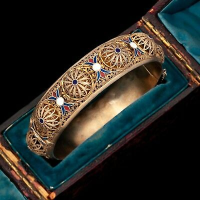 Antique Vintage Art Deco Sterling 800 Silver Portuguese Enamel Filigree Bracelet