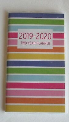 2019-2020 Two 2 Year multi Color Stripe Rainbow PLANNER Pocket Purse Calendar yr