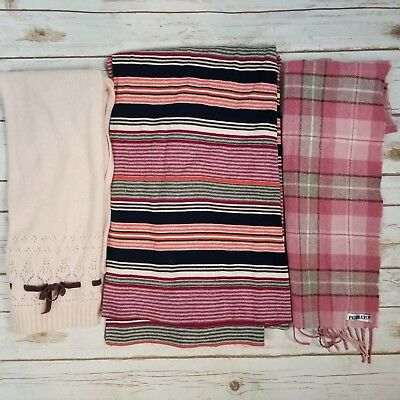 Womens Knit Scarves Wrap Lot of 3 Pendleton Gap Lambswool Virgin Wool Pink