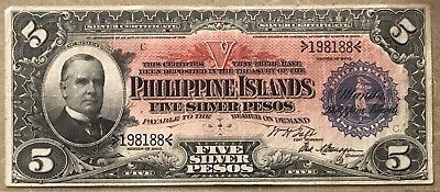 Rare 1903 Philippine Islands Five Pesos Silver Certificate