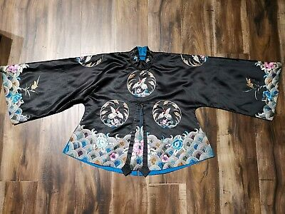Old Chinese house Antique Qianlong officer Kid's Dress Top Asian China Qing