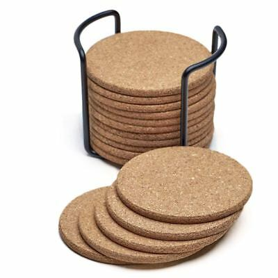 1X(Natural Cork Coasters With Round 16pc Set with Metal Holder Storage Cadd H2M1