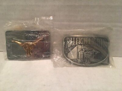 Lot Of 2 Vintage Belt Buckles Raleigh Lights Tobacco Rig - Longhorn