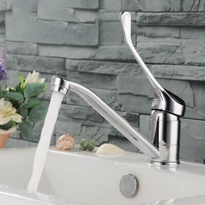 Waterfall Brushed Round Kitchen Sink Mixer Taps Dual Lever Mono Swivel Spout Tap