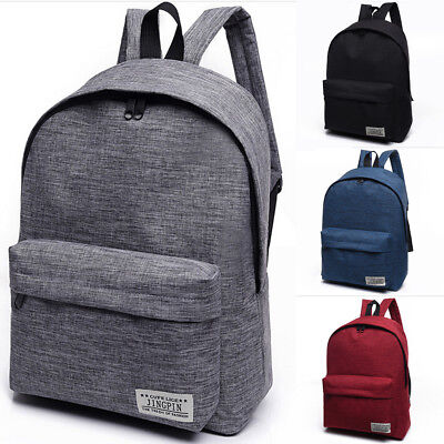 AU Womens Men Canvas Backpack Book School Bag Travel Hiking Rucksack Satchel Bag
