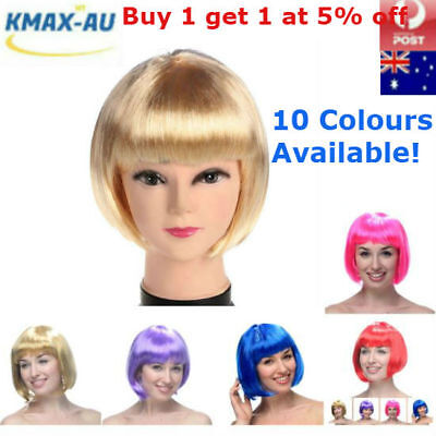 Womens Short Straight BOB Wigs Hair Sleek Synthetic Cosplay Party Wig Bang Girls