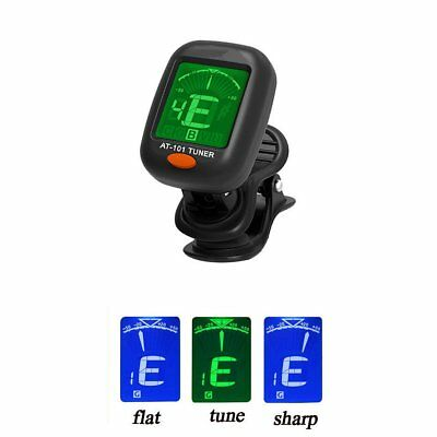 Chromatic Guitar Tuner Violin Ukulele Bass LCD Electronic Digital Clip on RU