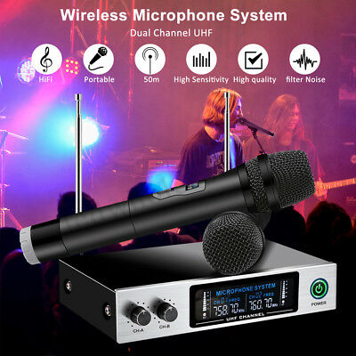 2 Channel 2 Handheld Wireless UHF Microphone System LED Display Karaoke Receiver