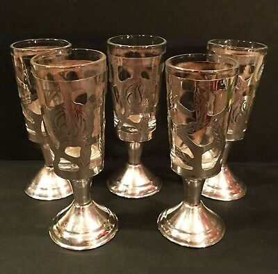 Vintage Mexican silver. Cordial glasses with sterling 925 overlay. Set of 5.