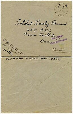 Ww2 Military Suspended Postal Service Returned Tunisia France Fm 1942