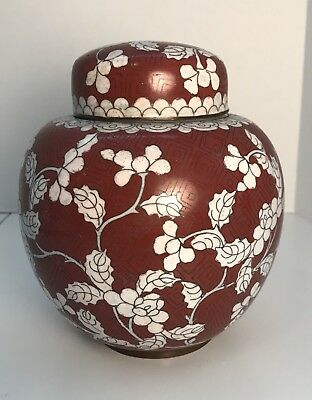 Antique Chinese Cloisonne Ginger Jar Marked China Early 20th Century