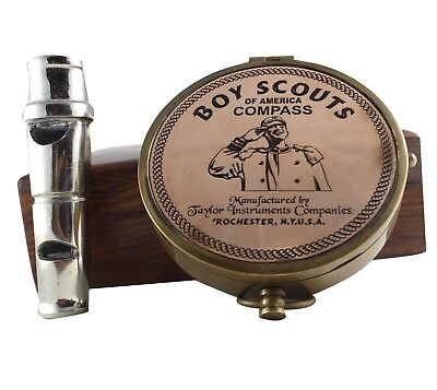 Antique Boy Scouts Of America Compass Brass Made Anchor Inlay W/Box whistle Gift