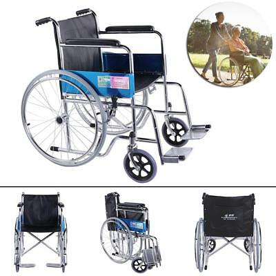 Folding Wheelchair Steel with Brakes Armrest Seat Companion Full Set Lightweight