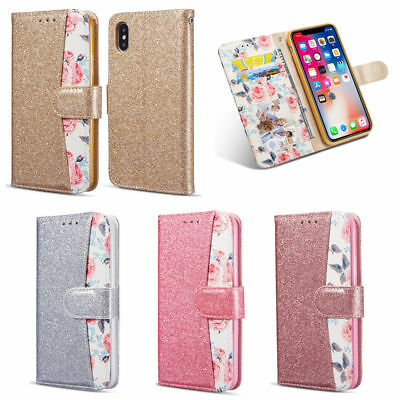 Bling Glitter Floral Leather Flip Wallet Phone Case Cover For Samsung S7 S8 J6 +