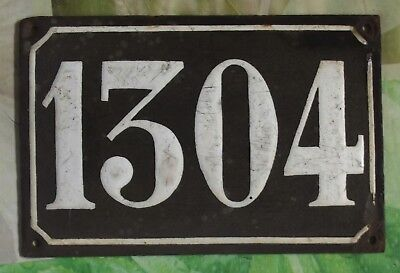 Large old black French house number 1304 door gate wall plate enamel metal sign