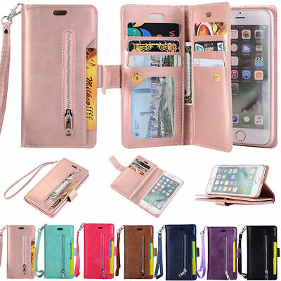 For Samsung J6 + A6 S7 S8 Card Wallet Flip Leather Stand Zipper Phone Case Cover
