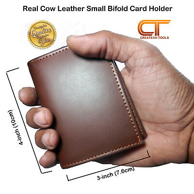 Small Real Cow Leather Credit card Holder, Bifold, coin Purse Slim Wallet