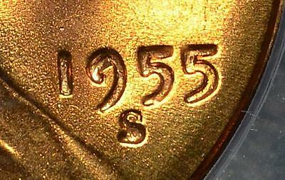 *Die Chip in DATE* 1955-S MS66 RD Lincoln Cent GEM+ Unc Rare Penny Ships FREE