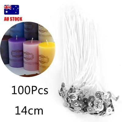 100pcs candle wicks cotton core pre waxed with sustainers for candle making AU