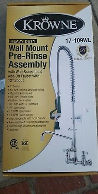 """Pre-Rinse Unit, 8"""" centers, spring action, 1.2 GPM head, Krowne Metal 17-109WL"""