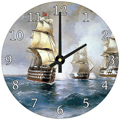 Vintage Ships Sea Retro Modern Abstract Glass Large Kitchen Bedroom Wall Clock