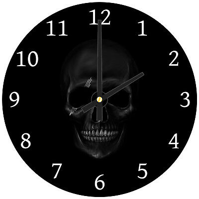 Black Skull Gothic Modern Abstract Glass Large Kitchen Bedroom Wall Clock