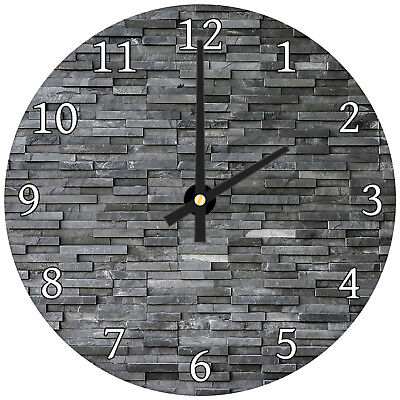 Black Grey Slate Modern Abstract Glass Large Kitchen Bedroom Wall Clock