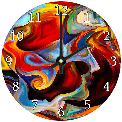 Colourful Funky Modern Abstract Glass Large Kitchen Bedroom Wall Clock