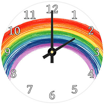 Colourful Rainbow Kids Modern Abstract Glass Large Kitchen Bedroom Wall Clock