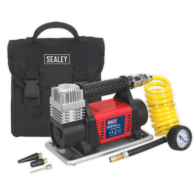 SEALEY MAC04 Mini Air Compressor 12V Heavy-Duty 100PSI Includes Storage Bag