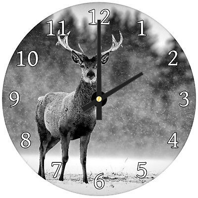 Black Stag Winter Forest Modern Animal Glass Large Kitchen Bedroom Wall Clock