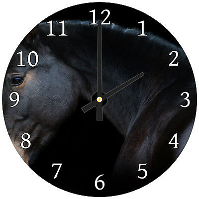 Black Brown Horse Dark  Modern Animal Glass Large Kitchen Bedroom Wall Clock
