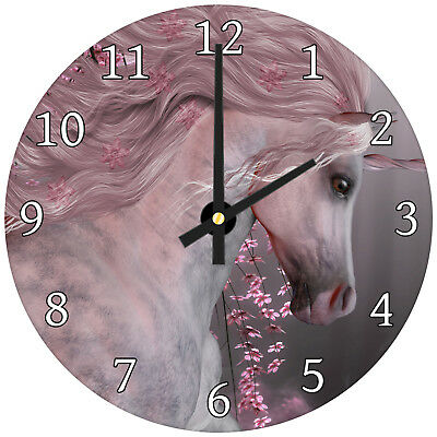 Pink Floral Unicorn Forest Modern Animal Glass Large Kitchen Bedroom Wall Clock