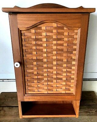 Longaberger RARE Wooden Cupboard Woven Panel Door Wall Cabinet With Shelves