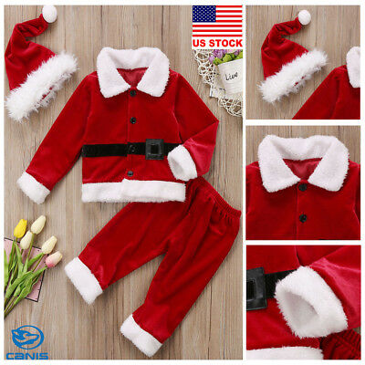 Christmas Kid Baby Girls Boys Dresses Hat Santa Clause Costume Party Clothes Set