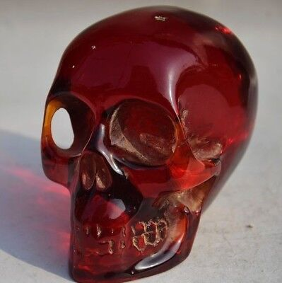 Chinese Decorative Craft Old Amber Carved Skull Statue