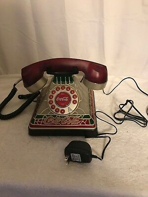 2001 Coca Cola Plastic Tiffany Stained Look Telephone with Instruction manual