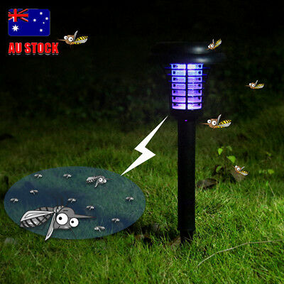 AU Solar Light Garden Yard LED Mosquito Bug Zapper Killer Lawn Lamp Outdoor Trap