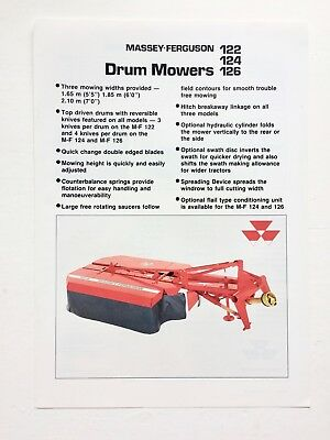Massey Ferguson 122 124 126 Drum Mowers Range Brochure & Specifications 1988