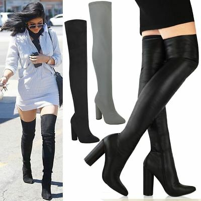 Womens Over The Knee Thigh Boots High Block Heel Stretch Zip Up Pointed Toe Size