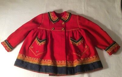 VTG Antique Child Kids Red Embroidered  Hand Made Wool Coat Jacket Sz. 2/3 Years