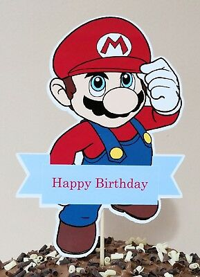 SUPER MARIO Cake Topper Party Centerpiece Decoration - Happy Birthday 16cm