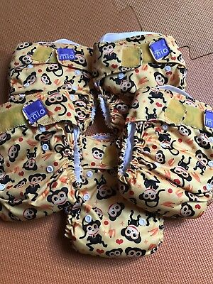 Bambino Mio Miosolo bundle Yellow Monkey, onesize AIO Cloth Nappies, Brand New