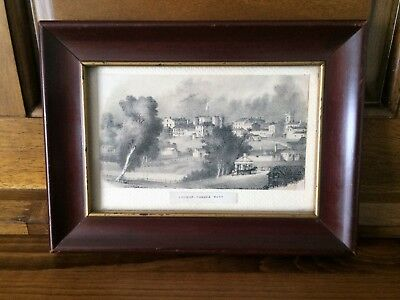 Antique Print of London Ontario Canada West in Vintage Cherry Wood Frame