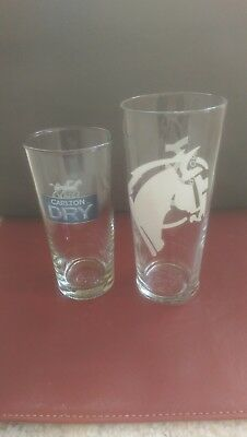 Carlton Dry Beer 570Ml Collector's Pint Glass & 425Ml Schooner Glass New