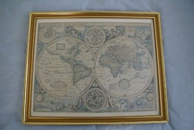 A New and Accvrat Map of the World reproduction print with nice frame