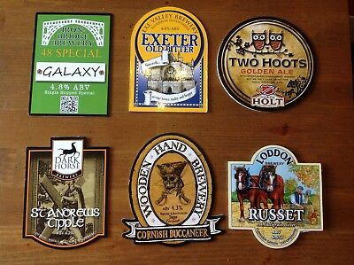 6 Assorted Beer Pump Clips Galaxy Exeter Old Bitter Two Hoots St Andrews Tipple
