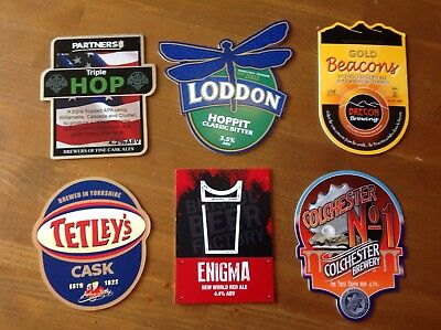 6 Assorted Beer Pump Clips Tetley Enigma Colchester Beacons Gold Hoppit Triple H