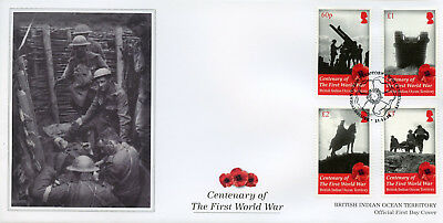 BIOT Brit Indian Ocean Ter 2018 FDC WWI WW1 World War I 4v Cover Military Stamps